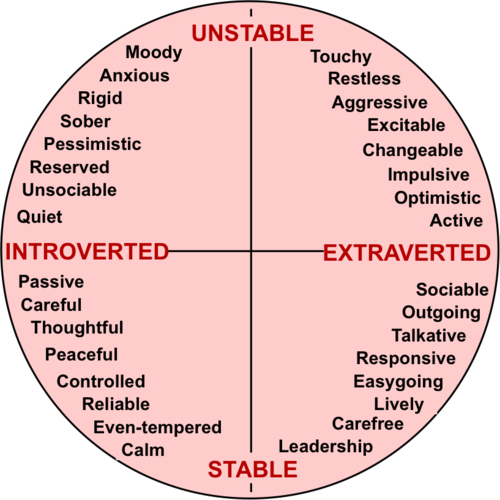 The Introvert / Extrovert Scale. Unstable.Stable. Introverted. Extroverted.